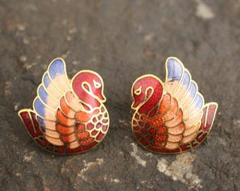Vintage Swan Earrings, Gold Tone Earrings, Vintage Earrings, Cloisonne Earrings, Swan Earrings, Pierced Earrings