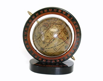 """Small Old World Style Spinning Globe on Black Wooden Base With Inscription """"World's Greatest Dad"""""""