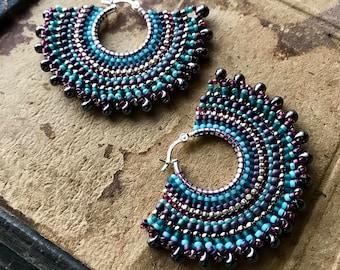 Striped Fan Earrings, Tribal Hoops