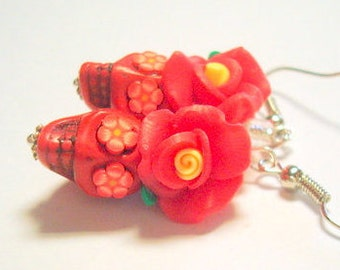 Red and Yellow Day of the Dead Rose and Sugar Skull Earrings