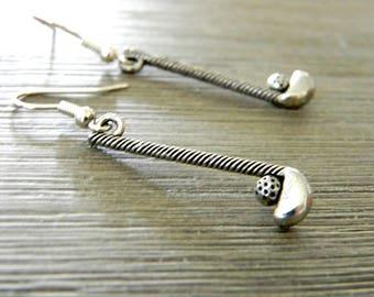 Golf Club Earrings Silver Color Dangle Earrings