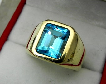 AAAA Swiss blue Topaz Untreated 10x8mm  4.00 Carats   Heavy 14K Yellow gold Emerald cut Mans Ring 15-16 grams 1769