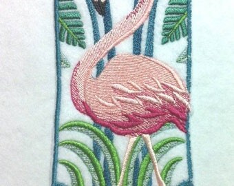 """Beautiful Art Deco Pink Flamingo Iron on Embroidered Patch Applique - 6.75"""" x 2.75"""" -  FREE U.S. Shipping"""