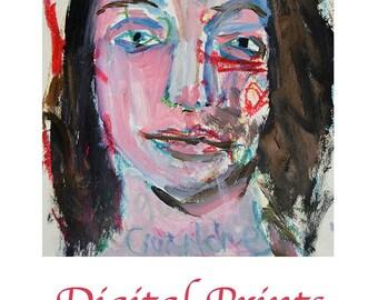 Woman Portrait Painting Print. Whimsical Art Journal Print. Mixed Media Digital Print. Contemporary Wall Art Decor.