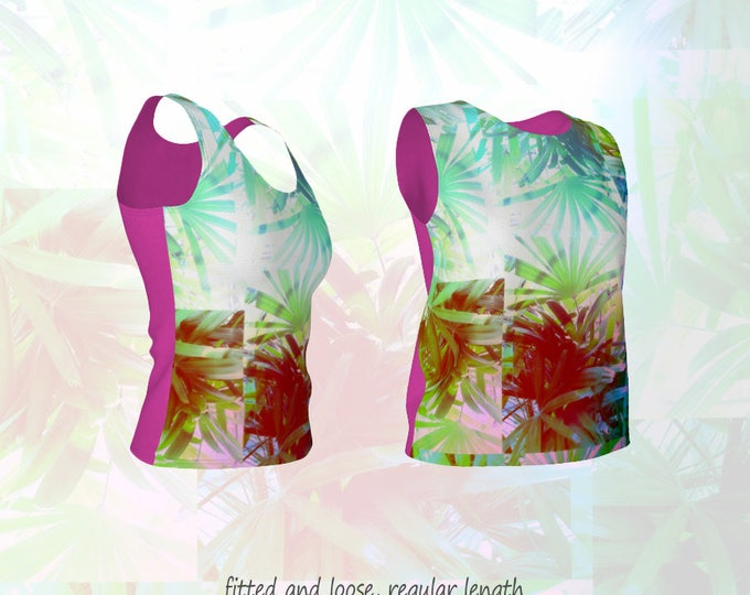Tropical Frond Leaves Tank Top in Retro Tile Pattern and Hot Fuchsia Pink Back