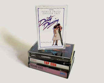 Vintage Lot of Four 1980s Cassette Tape Soundtracks, Dirty Dancing, Flashdance, Top Gun and Miami Vice