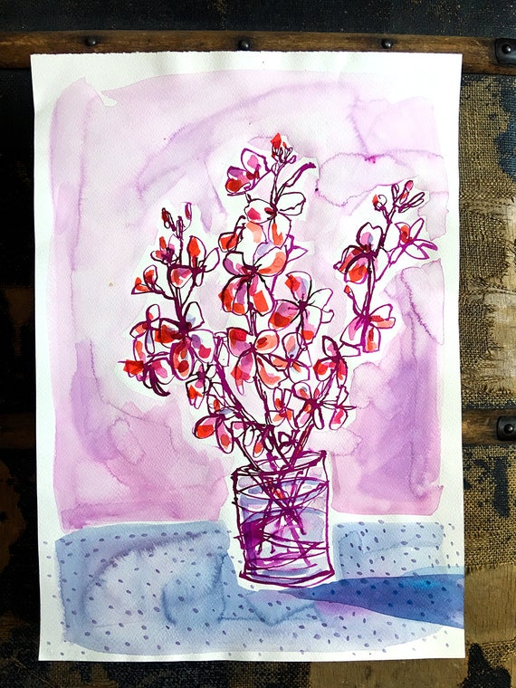 Original watercolor and ink painting on paper Doty Purple Vase artwork by Paula Mills
