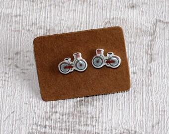 Bicycle Earrings, Teeny Tiny Earrings, Bicycle Jewelry, Cute Earrings