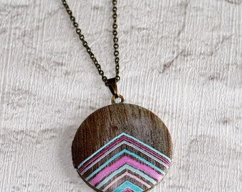 Geometric Locket Necklace, Chevron Necklace, Pink and Mint Green Arrows, Geometric Jewelry