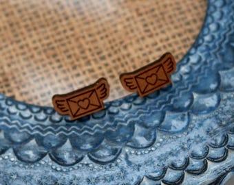 Love Letter Earrings, Wooden Love Letter Earrings