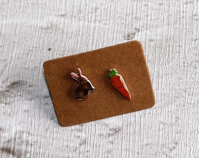 Rabbit and Carrot Earrings, Teeny Tiny Earrings, Mismatched Earrings, Animal Jewelry, Cute Earrings