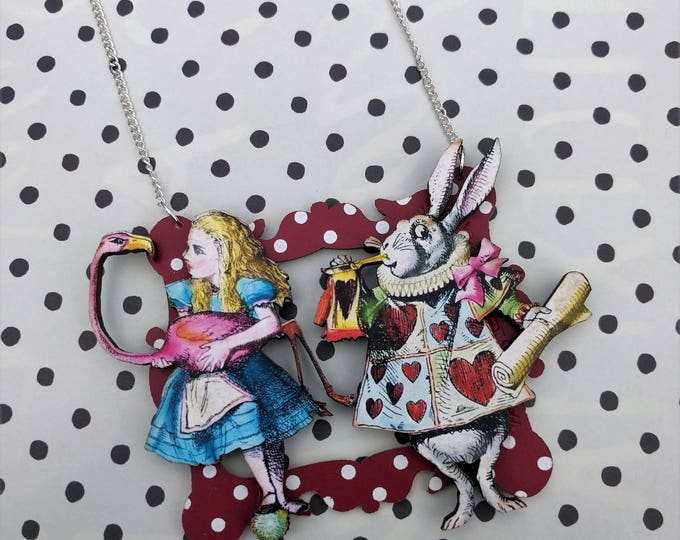 Alice in Wonderland Necklace, Alice and Rabbit Necklace, Tenniel Illustration, Statement Necklace, Altered Art, Mixed Media