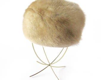 Vintage 1950s Honey Blonde Mink Fur Hat / Winter Fur Hat / Mink Hat / Fashion Hat / Light Brown Fur Hat / Vintage Fur Hat / Hat Topper