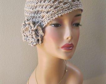Ecru Variegated Cotton/Linen/Silk/Nettle Fiber Cloche with Detachable Flower Hand Crocheted by Swedishknit