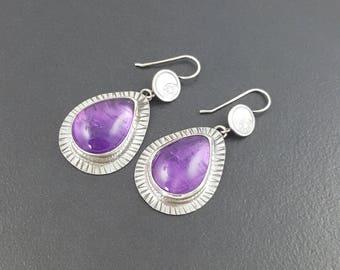 Amethyst Earrings, moon and stars, dangle earrings, halloween earrings, michele grady,halloween, purple silver,sterling silver,drop earrings