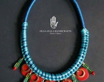 Tribal Wrapped Rope Necklace - Blue with Red Disc Fringe