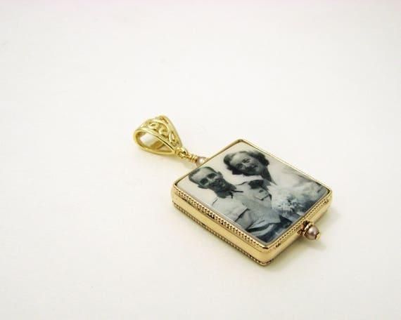 14K Gold Filled Framed Photo Pendant - Medium