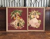 Bernard 1940's Mexican Fiesta Watercolor Illustrations Prints Man Woman Cha Cha