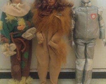 Wizard of Oz Doll Lot MATTEL 1996 Head 1975 Body Lion Tin Man Scarecrow
