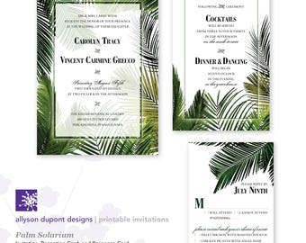 Printable Wedding Invitations - Palm Solarium - Vintage Foliage - Greenhouse - Invitation, Reception Card & Response Card