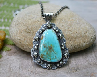 Turquoise Necklace. Southwestern Turquoise Pendant Necklace. Sterling Silver Statement Jewelry. Bohemian One of a Kind. Artisan Made.