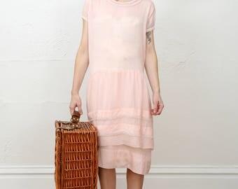 SALE 1920s Silk Dress PINK