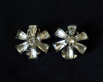 WEISS Vintage Clear Rhinestone Clip On Earrings in Floral Design