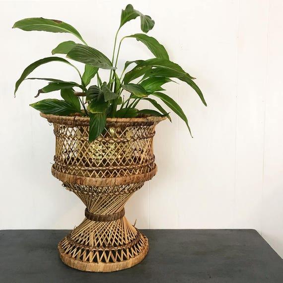 vintage wicker pedestal planter - rattan plant stand - indoor planter - boho woven plant basket