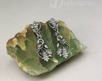 Forest whispers - sterling silver earrings with oak leaves, acorns, twigs and vines, woodland, druid, dryad, fantasy, limited collection