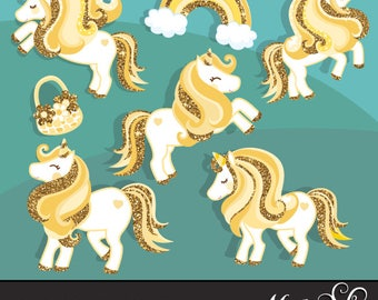 Gold Glitter Unicorn Clipart. Summer graphics, party printables, digitized embroidery, planner stickers, fairy tale graphics, illustration