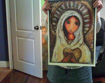 Blessed Mother  - Large Print on Fabric from Original Painting (14 x 20 inches) by FLOR LARIOS