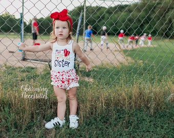 NEW Baseball Sister Glitter Tank Top and Ruffle Bloomies Set, Fan, Summer Clothes, Baby Girl Outfits, by Charming Necessities Red