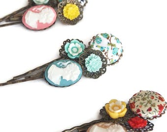 Girl for all Seasons Bobby Pin Set of 3-Cameo Hair Pins-Fashion Accessory-Pretty Patterns-Gifts for Teens-Antique Bronze-Bridesmaid Gift