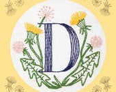Monogram Flower PDF Pattern - D is for Dandelion