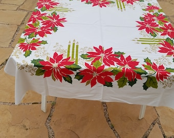 Vintage Tablecloth, Candles and Poinsettias, Gold, Red, and Green, 51x49""