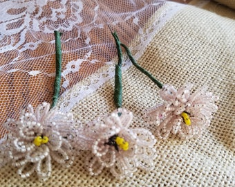 Set of Three (3) Vintage Glass Hand-Beaded Flower Picks, Flowers, Very Palest Pink