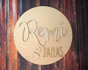 Circle Custom Name Wall Hangings, Nursery, Custom Words, Wooden Name Sign 24 inches, Baby Name, Wedding Name, Decor