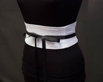 Gray and White Seersucker ObiWaist Cincher Corset Belt Custom Any Size