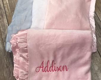 Personalized Baby Blanket-Satin trim blanket-Monogram baby blanket-Fleece Blanket