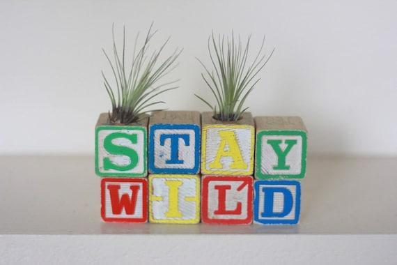 Stay Wild Woodland Vintage Wood Block Air Plant Holder Nursery Decor Baby Room Decoration