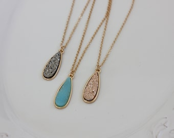 Drop Druzy Necklace, Rose Gold jewelry, Gold Chain Necklace, Gold Birthstone Necklace,  pick your color, long chain necklace