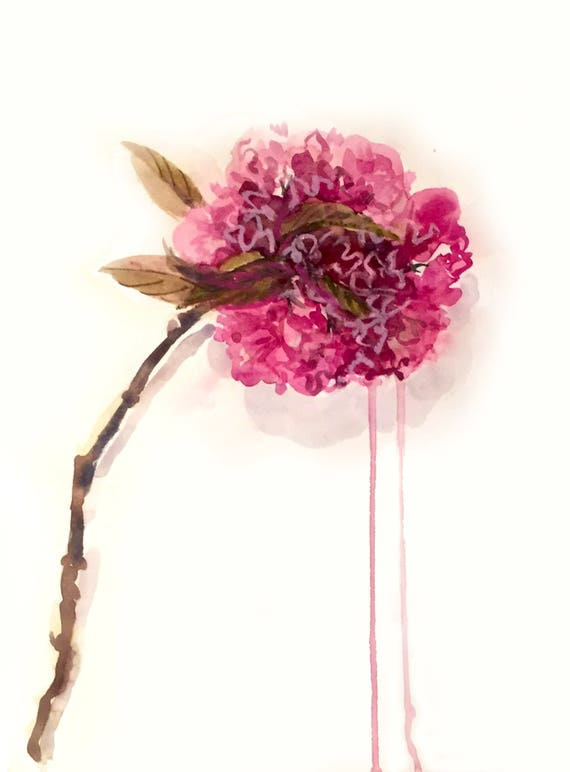 Original floral watercolor painting -Peony in Deep Magenta