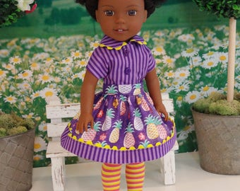 Island Pineapple - Blouse, skirt, tights & shoes for Wellie Wisher doll