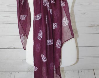 Owl Print Scarf, Purple Owl Scarf, Little White Owls, Year-Round Scarf, Gift for Her