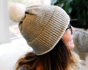 Basic Knit Hat // Solid Light Gray // Warm Winter Accessory // Soft and Squishy