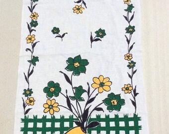 Vintage Startex Dutch Towel Wooden Shoe Planter on Green Checks