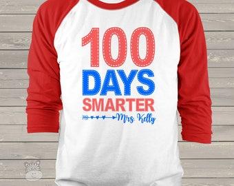 Teacher shirt - 100 Days Smarter - faux stitch hundred day raglan shirt for teachers   mscl-086-r