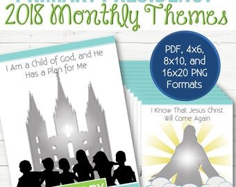 2018 Primary Monthly Theme Posters - INSTANT DOWNLOAD