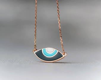 Evil Eye Necklace 14k Solid Gold Evil Eye Oval 14k enamel pendant Gift for Her Anniversary gift Bridal Rose Gold Christmas