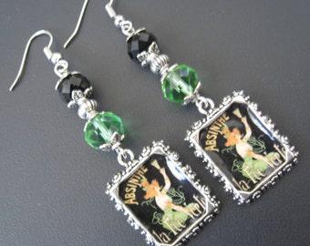 Absinthe Jewelry, Absinthe Earrings, Paris Jewelry, Paris Earrings, Alcohol Jewelry, Alcohol Earrings, Green Jewelry, Green Earring